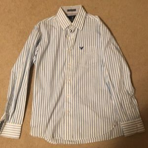 Long sleeve white with blue stripe vintage fit